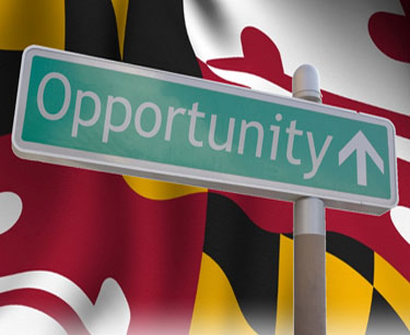MD Flag with Opportunity road sign