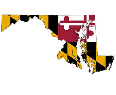 State of Maryland shape filled in with Maryland Flag graphics